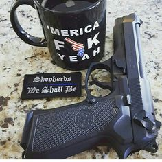 "Customer Action Shot with our TBL ""Shepherds We Shall Be"" morale patch!  Gotta love an M9 and coffee as black as your soul.  Www.zombietacticalcord.com   #zombietacticalcord #m9 #beretta #coffee #merica #tlb"