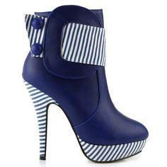 Amazon.com: Show Story Striped Button Zipper High Heel Stiletto Platform Ankle Boots, FZ97304: Shoes