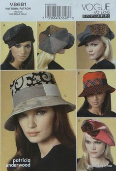 Vogue 8681 Misses FASHION HATS Sewing PATTERN in 5 Styles & 4 Sizes XS-S-M-L NEW #Vogue