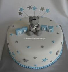 Made this blue silver white baby shower cake for a baby shower. - Made this blue silver white baby shower cake for a baby shower. Torta Baby Shower, Baby Shower Cakes For Boys, Baby Boy Cakes, Baby Shower Desserts, Baby Shower Parties, Baby Shower Themes, Baby Boy Shower, Babyshower Party, Baby Party