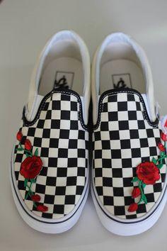 Rose Patch Slip on Checkered Vans