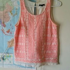 AE lace tank Gorgeous tank top with lace over a salmon orange color. In excellent condition, no holes in fabric or rips or stains. Back is a cream color with a button at the top. This top just screams spring time! American Eagle Outfitters Tops Tank Tops