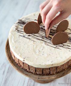 Isänpäivän kakkuideoita miettiessäni käännyin leipomoiden puoleen ja nappasin sieltä Kinuskileipomo Jenskun kehittelemän Ahaa-appelsiinikakun reseptin. Nimensä mukaisesti kakku on yhtä aikaa raikas ja suklainen. Kakussa kulkee pohjasta koristeluun kolme teemaa: 1) Suklaisuus muodostuu Fazerina-suklaasta (pohjassa keksien kautta), Ahaa-suklaacrisp-patukoista (reunakoristeena ja täytteessä rouheena) sekä Noblessen legendaarisista litteistä suklaakonvehdeista (yksi lapsuusajan suosikeistani…