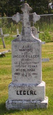 Headstone: Dugas, Leger | St Joachim Cemetery | Bertrand (Gloucester) New Brunswick Genealogy