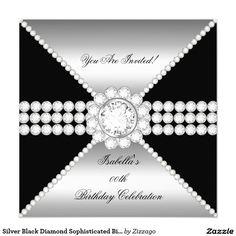 Silver Black Diamond Sophisticated Birthday Party 5.25x5.25 Square Paper Invitation Card