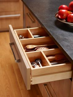 Want a drawer like this in my island someday.  A place for everything and everything in its place.