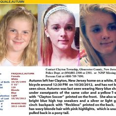 12 year old female named autumn is missing in Clayton nj gloucester county.watch the news or share this picture.after myself watching the news I felt the need to help