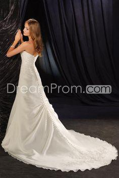 US $211.09 Attractive A-Line/Princess Stapless Cathedral Satin Appliques Bridal Gown (3AA0436)