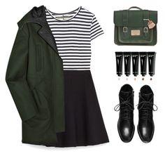 """Striped Shirt"" by amazing-abby ❤ liked on Polyvore featuring moda, Enza Costa, Zara, Miu Miu, Dr. Martens e Bobbi Brown Cosmetics"
