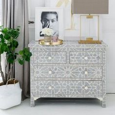 Just like her sister Liberty, the Constance Inlay Chest of Drawers is a beauty to behold. This intricately detailed piece is made from a plethora of bone pieces, delicately arranged to form stunning Art Deco patterns, and the hexagonal bone handles provid Large Furniture, Luxury Furniture, Bed Furniture, Sweetpea And Willow, 5 Seater Sofa, Luxury Sofa, Luxury Bedding, Luxury Bedrooms, Modern Bedrooms