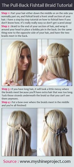 The Pull-Back Fishtail Braid Tutorial...lets see how long i will keep my hair down