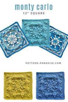 Crochet pattern for Monty Carlo crochet square, afghan square, 12 Crochet Motif Patterns, Crochet Blocks, Knitting Patterns, Afghan Patterns, Free Knitting, Bag Crochet, Crochet Crafts, Crochet Projects, Crochet Art