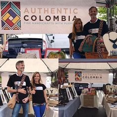 HOLA! Nice to meet you• this is us, DP & Monica, founders of Authentic Colombia. This is our booth in @rsffarmersmarket •  We're here to share our joy and handmade wearable art from Colombia and bring back your generosity to the native craftspeople who make it. GRACIAS for your love & support ❤️ * #ranchosantafefarmersmarket #authenticcolombia #handcraft #marketbooth #culturaldiplomacy #bestofcolombia #handmade #shoulderbag #bracelets #macrameart #wayuumochila #arhuaco #arhuacomochila…