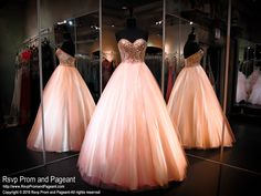 Peachy Pink Ball Gown-Strapless Sweetheart Bodice-Lace up Back-116CLAR067340