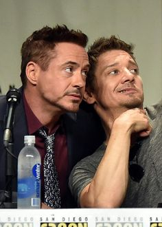 Robert Downey Jr. and Jeremy Renner during the Marvel panel at San Diego Comic Con, July 26, 2014.