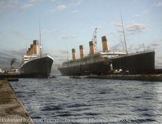 March 6, 1912: Titanic (right) had to be moved out of the dry dock so her sister Olympic could be repaired.