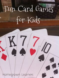 card games for kids.... Perfect for weekends at the cottage.