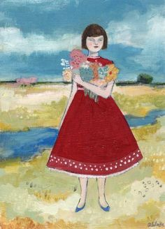 The Flowers She Carried Reminded Her of the Places She'd Left Behind by Amanda Blake (contemporary), American - Her paintings use symbolism and the imagery of superstitions to explore the idea of fate and the search for meaning in the the world around us (amandablake)