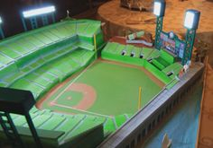 Amazing recreation of AT&T Park in the form of a Wedding Stadium Cake - San Francisco Giants.  The working stadium lights are a really nice touch!  #baseballwedding