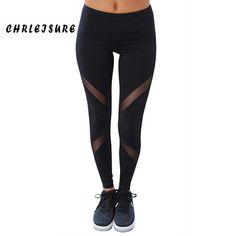 CHRLEISURE Sexy Women Leggings Gothic Insert Mesh Design Trousers Pants Big Size Black Capris Sportswear New Fitness Leggings  Price: 6.15 USD