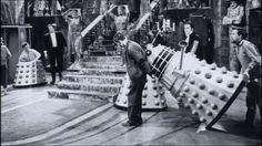 Originally constructed as a stunt prop, Dalek 7 is moved into position in 'The Chase'