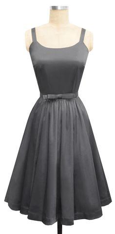 Annette Bow Dress   Steel Cotton Blend Satin   1950s Inspired Dark Gray Bridesmaid Dress