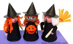 styrofoam cup witches | Create a funny witch using a paper cup and a Styrofoam ball.