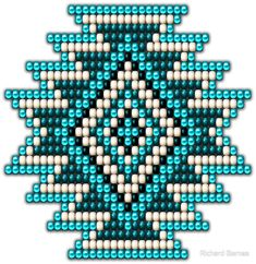 """Native Style Turquoise Sunburst"" von Ricky Barnes - My CMS Native Beading Patterns, Beadwork Designs, Seed Bead Patterns, Beaded Jewelry Patterns, Peyote Patterns, Cross Stitch Patterns, Cross Stitches, Bracelet Patterns, Indian Beadwork"