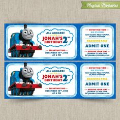 Thomas train ticket printable birthday ticket invitation card diy thomas the train customizable printable party invitation filmwisefo Gallery