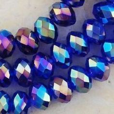 100 PC Dark Blue AB Faceted Rondelle Beads 6 MM