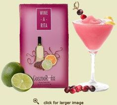 Wine-A-Rita Cosmo Rita - Drink Mix in Gift Box Create a fun, delicious frozen beverage.   A sophisticated twist on a trendy city classic, with a combination of the cosmopolitan and a frozen cocktail. Blend with white wine or vodka. Our favorites are Sauvignon Blanc and Pinot Grigio. Blend with ginger ale for a non-alcoholic treat.  Kosher.  Your choice - 12 oz Package - Makes 72 ounces, 6 oz Package in a box- Makes 36 ounces, or 12 oz in a fabric bag (Fabric and color may very).