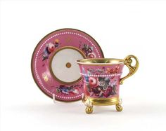 An English porcelain cabinet cup and stand c.1820,