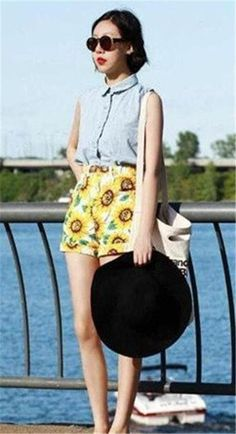 Orange Denim Womens Shorts Durable Sun Flower Print Autumn Shorts for Ladies Mid Waist And Button Design Hot Sale ASW-004 Online with $24.09/Piece on Smartmart's Store | DHgate.com