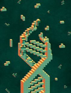 Programmable Matter (Tetris DNA) Art Print by Kata | Society6