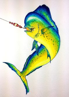 "Fish - Mahi Mahi -""Hooked Up"" - Colored Pencil    Artist - David Feldkamp  Columbus, Ohio"