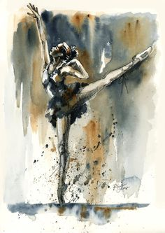 Original Watercolor Painting Ballerina by SimplyArtByKristin, $52.00
