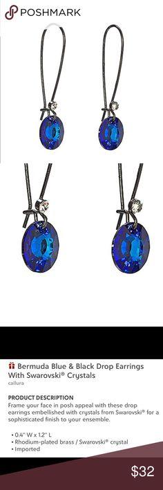 Swarovski Crystals - Bermuda Blue & Clear Earrings Swarovski Crystals in Bermuda Blue & Clear used to create these Black Wire Drop Earrings.   New In Package Swarovski Jewelry Earrings