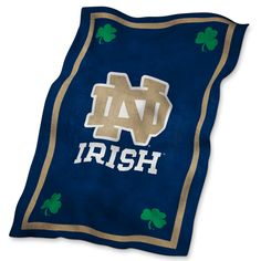 Relax in comfort with this Notre Dame Fighting Irish Ultra Soft Raschel Blanket. Rally House has a great selection of new and exclusive Notre Dame Fighting Irish t-shirts, hats, gifts and apparel, in-store and online. Notre Dame Leprechaun, Ncaa Apparel, Go Irish, Irish Fans, Notre Dame Football, Football Football, Football Quotes, Blue Blanket, Blanket Cover