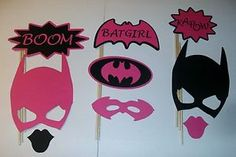 DIY- 9 Photo Booth Props Batgirl Boom Pink and Black (2101D)
