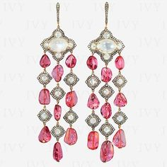 IVY New York. Elegant pair of ear pendant. #pink #spinel #diamonds #moonstone www.ivynewyork.com