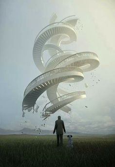 This is one of my new favorite pieces of work. The levitation, the stairs, the spirals... UNF. The spirals are even balanced despite their position.