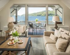 The Osprey luxury boathouse on Lake Windermere with private mooring overlooks Lake Windermere in the Lake District a truly magical self-catering holiday home Lakefront Property, Windermere, Luxury Holidays, Lake District, Staycation, Rustic Design, Boathouse, Living Area, Living Room
