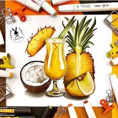 Охлаждающих коктейль и фруктовая тарелочка😍 идеально для летнего завтрака! 📷 @olga.maler 🧑🏼🎨 В следующем посте супер новости😎😍 #творчествовнутри #скетчбукмечты #black13bunny #арт #подарокхудожнику #рисую #скетчбук #альбом #маркерыдляскетчей #лето2020 Leaf Drawing, Gesture Drawing, Pastel Drawing, Drawing Skills, Car Drawings, Love Drawings, Baby Pokemon, Basset Hound Dog, Dandelion Flower