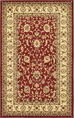"""Unique Loom Agra Collection Red 3 x 5 Area Rug (3' 3"""" x 5..."""