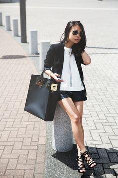 Black and White: Sophie Hulme Bag, TopShop Heels