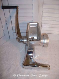 Vintage Rival Grind O Mat Hand Crank Meat Food Grinder Chrome Cast Aluminum | eBay