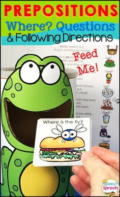 $ Position concepts, following directions and answering Wh questions has never so much fun in speech therapy! A feed the animal activity your children will love. Feed the frog those pesky flies!   Plenty more activities are included for multiple sessions of practice: dot marker activities, a flap activity, dough mat, game, a funny poem for listening to clues and a take-home booklet with a parent letter for carryover.