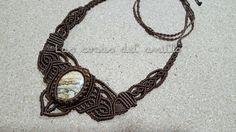 #macrame #necklace #jaspe #brown