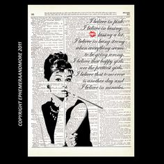 AUDREY HEPBURN dictionary art print on vintage dictionary page art print dictionary print upcycled mixed media 8x10 Breakfast at Tiffanys via Etsy