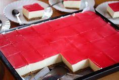 Her viser jeg deg hvordan du kan lage en klassisk ostekake i stor langpanne. Du bør ha en stor form som er i hvert fall 30 x 40 cm i størrelse og som måler minst 5 cm i høyden. Oppskriften gir 35 store ostekakestykker, så dette er en ideell kake å lage dersom du skal ha selskap. Pynt med noen friske bringebær, jordbær og blåbær, og du har en super kake til for eksempel 17. mai! Oppskrift og foto: Kristine Ilstad/Det søte liv. Jello Recipes, Cheesecake Recipes, Dessert Recipes, Chocolate Meringue, Meringue Cake, Norwegian Food, Swedish Recipes, Eat Dessert First, Sweet Desserts